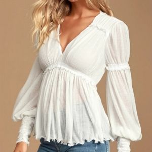 Free People ivory long sleeve top size XS